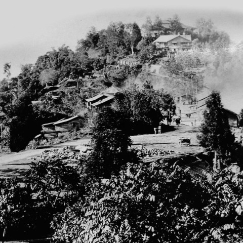 Aerial view of the old Ridge Park, Gangtok.